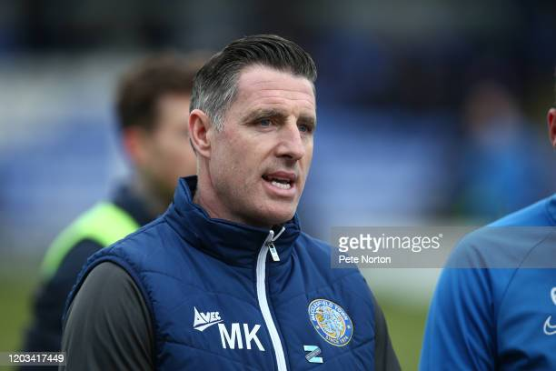 Macclesfield Town manager Mark Kennedy looks on prior to the Sky Bet League Two match between Macclesfield Town and Northampton Town at Moss Rose...
