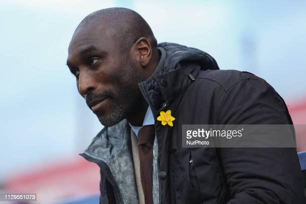 Macclesfield Town manager Sol Campbell during the Sky Bet League 2 match between Macclesfield Town and MK Dons at the Moss Rose Stadium Macclesfield...