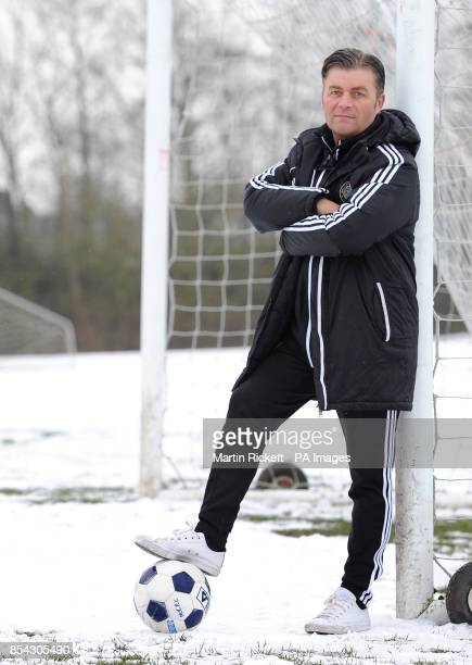 Macclesfield Town manager Steve King after the training session at Egerton Football Club Knutsford Cheshire