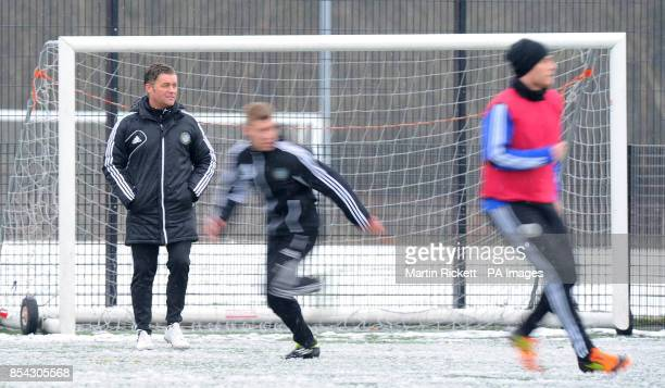 Macclesfield Town manager Steve King during the training session at Egerton Football Club Knutsford Cheshire