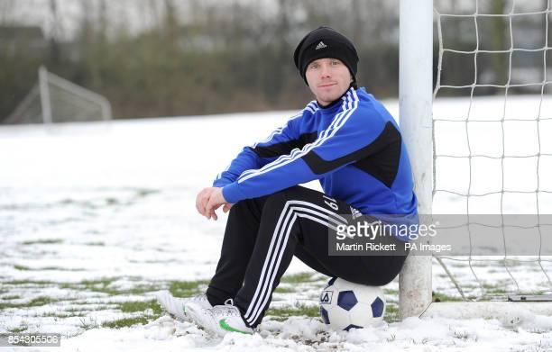 Macclesfield Town midfielder John Paul Kissock after the training session at Egerton Football Club Knutsford Cheshire