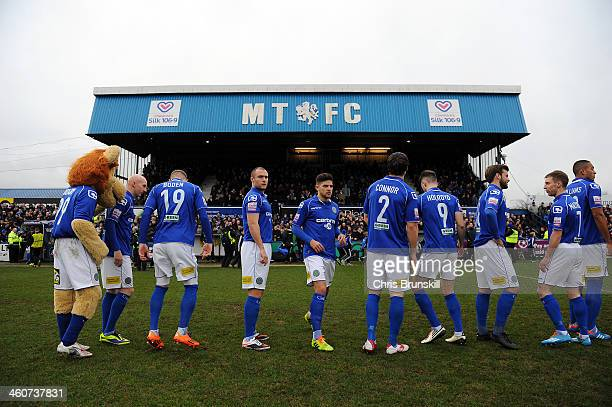 Macclesfield Town players line up ahead of the FA Cup with Budweiser Third Round match between Macclesfield Town and Sheffield Wednesday at Moss Rose...