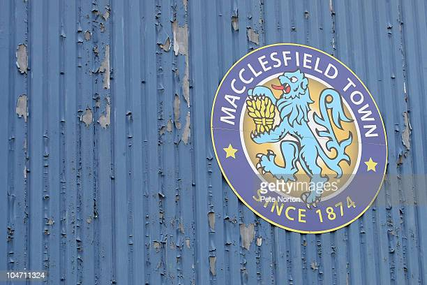 Macclesfield Town's crest on the main stand during the npower League Two match between Macclesfield Town and Northampton Town at Moss Rose on October...