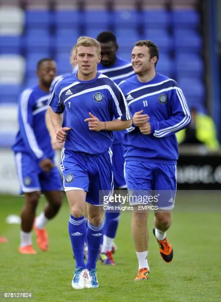 Macclesfield Town's Jack Mackreth and Peter Winn
