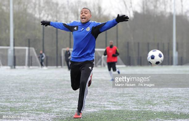 Macclesfield Town's Matthew BarnesHomer during the training session at Egerton Football Club Knutsford Cheshire