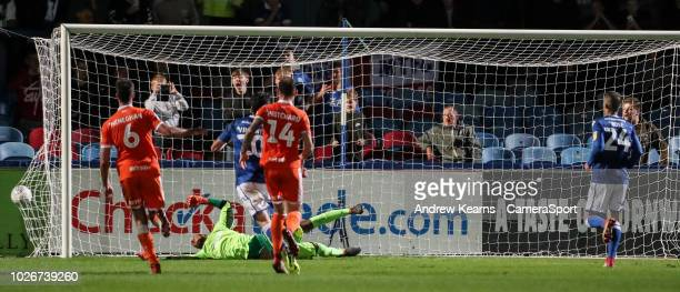 Macclesfield Town's Michael Rose scoring his side's third goal from the penalty spot during the Checkatrade Trophy Group C match between Macclesfield...