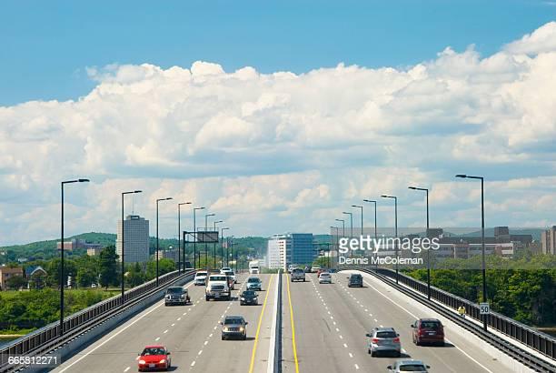 macdonald-cartier bridge - gatineau stock photos and pictures