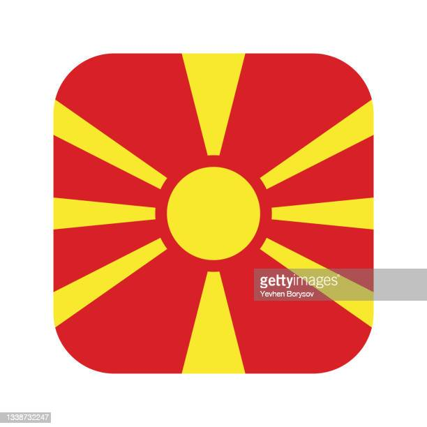 macedonia flag simple illustration for independence day or election - insignia stock pictures, royalty-free photos & images