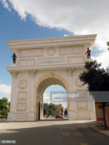 macedonia gate porta macedonia - skopje stock pictures, royalty-free photos & images