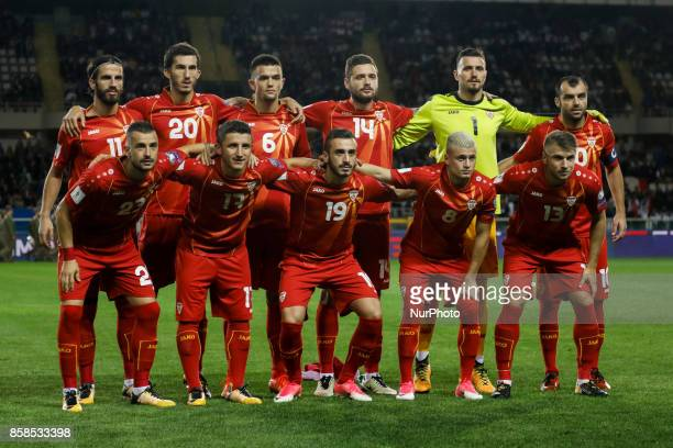 Macedonia national team players pose for the photo during the 2018 FIFA World Cup Russia qualifier Group G football match between Italy and FYR...