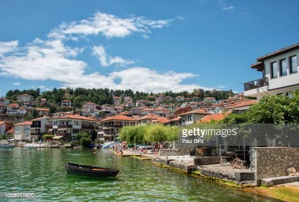 macedonia, ohrid, buildings of ohrid old town - macedonië land stockfoto's en -beelden