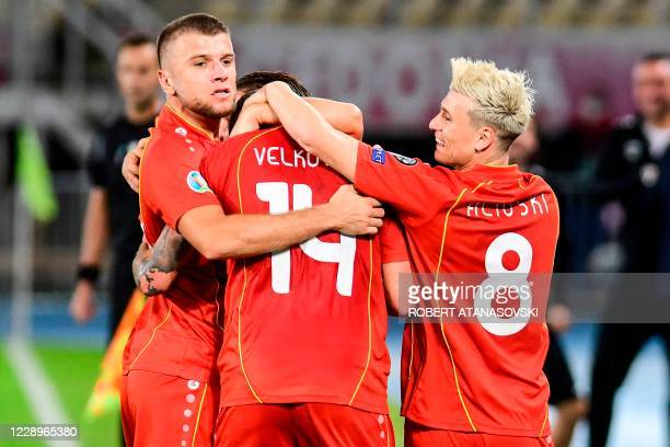 Macedonia' players celebrate after scoring a goal during the Euro 2020 playoff semi-final football match between North Macedonia and Kosovo at Todor...