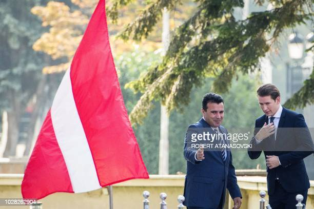 Macedonia Prime Minister Zoran Zaev welcomes Austrian Chancellor Sebastian Kurz during a welcoming ceremony in front of the Government building in...