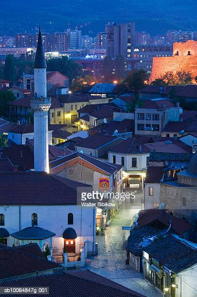 macedonia, skopje, cityscape at dusk - skopje stock pictures, royalty-free photos & images