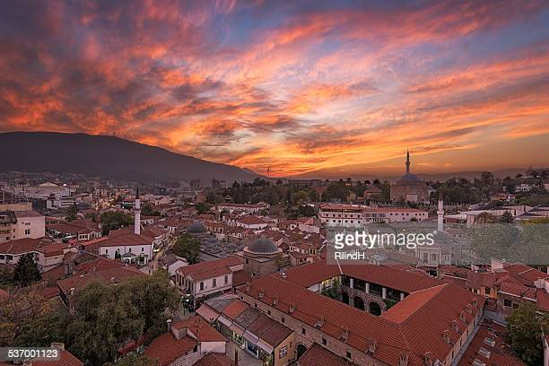 macedonia, skopje, old bazaar, cityscape with moody sunset sky - skopje stock pictures, royalty-free photos & images