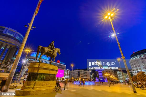 macedonia square in skopje, macedonia - skopje stock pictures, royalty-free photos & images