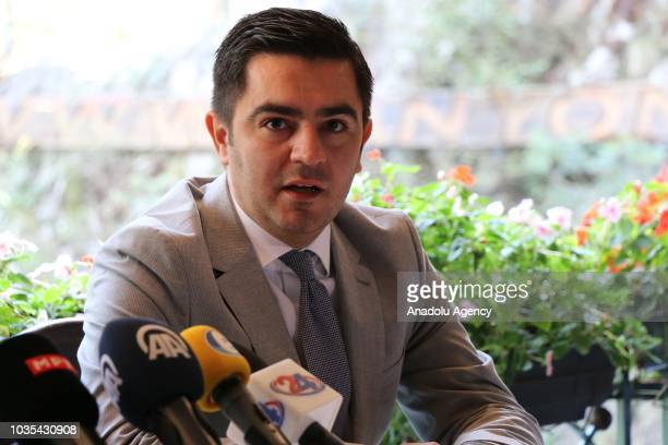 Macedonian Economy Minister Kreshnik Bekteshi speaks after Deputy Prime Minister of Macedonia responsible for economic affairs and coordination with...