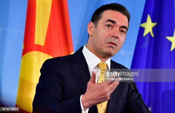 Macedonian Foreign Minister Nikola Dimitrov and his German counterpart give a joint press conference following talks on June 14 2018 in Berlin