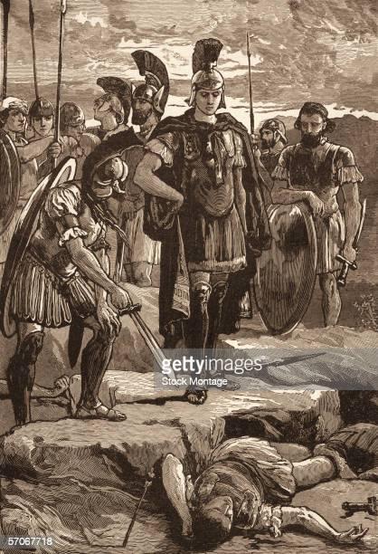 Macedonian king Alexander the Great is shown the body of Persian King Darius III , who died following his betrayal, July 330 B.C.