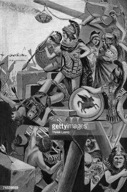 Macedonian King Alexander the Great leads a siege on the Phoenician city of Tyre 332 BC