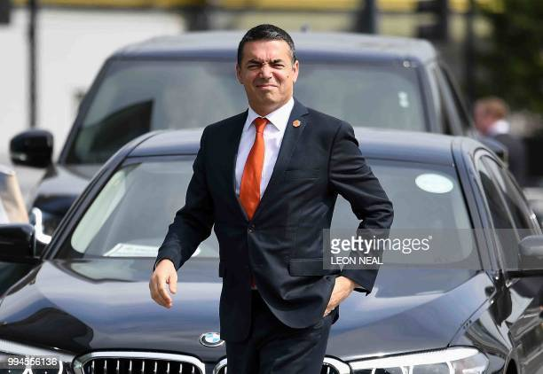 Macedonian Minister of Foreign Affairs Nikola Dimitrov arrives for the Western Balkans Summit at the Crystal Centre in London on July 9 2018 The...