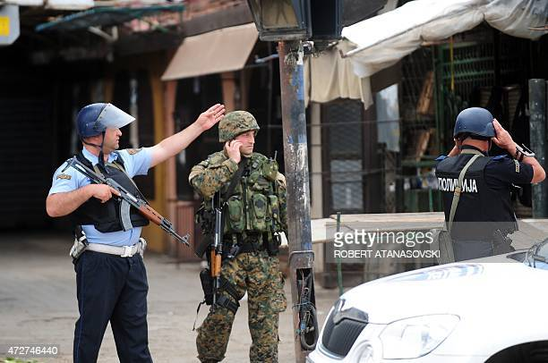 Macedonian police patrol in Kumanovo north of the capital Skopje on May 9 2015 Heavily armed police entered the outskirts of the north Macedonian...