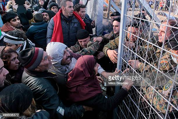 Macedonian police pushed back to the Greece immigrants who have no right of entry on the GreekMacedonian border near the village of Idomeni Greece...