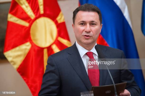 Macedonian Prime Minister Nikola Gruevski attends a joint press conference alongside his Slovenian counterpart, after their meeting in Brdo near...