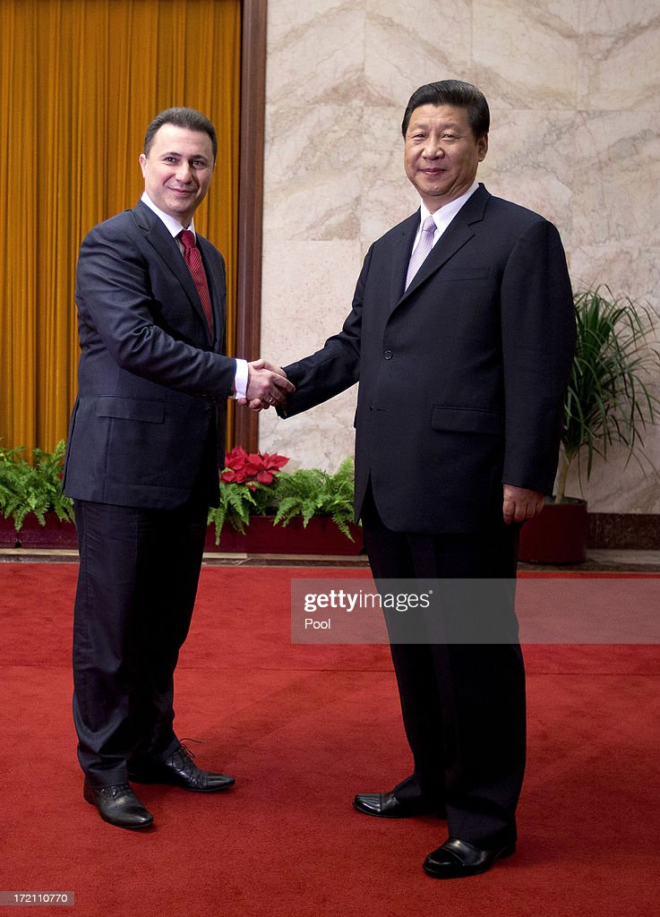 Macedonian Prime Minister Nikola Gruevski shakes hands with Chinese President Xi Jinping upon arrival for a meeting at the Great Hall of the People on July 2, 2013 in Beijing, China. Victor-Viorel Ponta and Nikola Gruevski are in China to attend a conference with local leaders and central and east European countires from July 2 to 4.