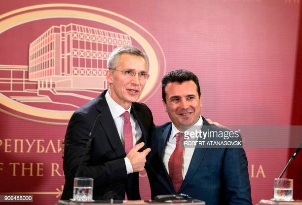Macedonian Prime Minister Zoran Zaev and NATO Secretary General Jens Stoltenberg pose within a joint press conference following their meeting in...