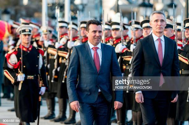 Macedonian Prime Minister Zoran Zaev and NATO Secretary General Jens Stoltenberg review troops on January 18 2018 upon Stoltenberg's arrival for...