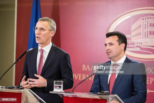 Macedonian Prime Minister Zoran Zaev and NATO Secretary General Jens Stoltenberg hold a joint press conference on January 18 2018 following their...