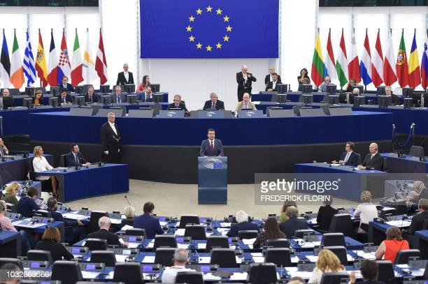 Macedonian Prime Minister Zoran Zaev delivers a speech during a plenary session at the European Parliament on September 13 2018 in Strasbourg eastern...