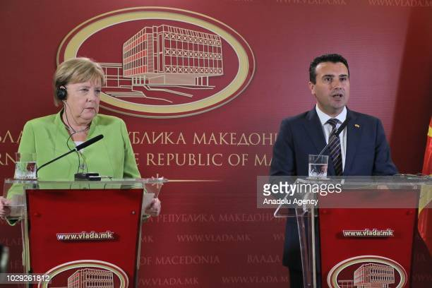 Macedonian Prime Minister Zoran Zaev speaks during a joint press conference held with German Chancellor Angela Merkel in Skopje Macedonia on...