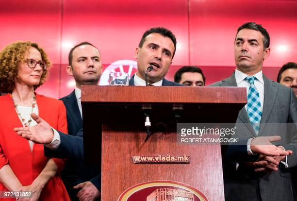 Macedonian Prime Minister Zoran Zaev speaks during a press conference at the government building in Skopje on June 12 2018 Macedonia the name of the...