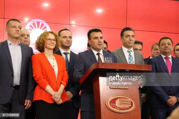 SKOPJE MACEDONIA JUNE 12 Macedonian Prime Minister Zoran Zaev speaks during a press conference at the government building in Skopje Macedonia on June...