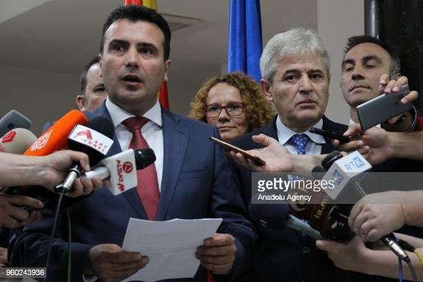 Macedonian Prime Minister Zoran Zaev speaks to press members on the GreeceMacedonia naming dispute following the 'Leaders Meeting' in Skopje...