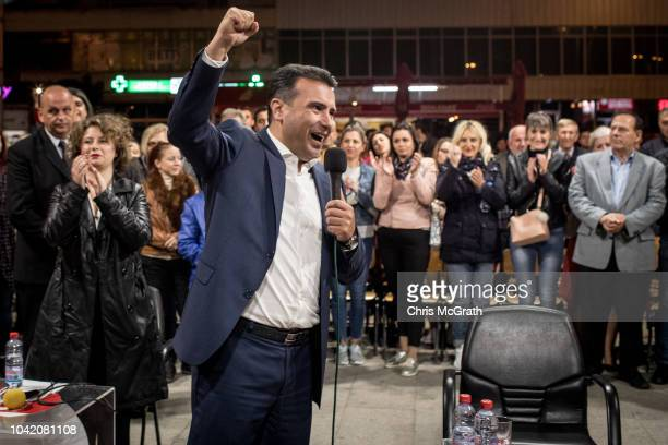 Macedonian Prime Minister Zoran Zaev speaks to supporters during a final referendum rally for the coalition For European Macedonia on September 27...