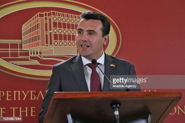 Macedonian Prime Minister Zoran Zaev US Defense Secretary Jim Mattis and Macedonian Defence Minister Radmila Shekerinska attend a press conference in...