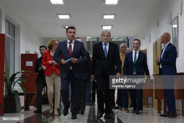 Macedonian Prime Minister Zoran Zaev walks to hold a press conference on the GreeceMacedonia naming dispute following the 'Leaders Meeting' in Skopje...