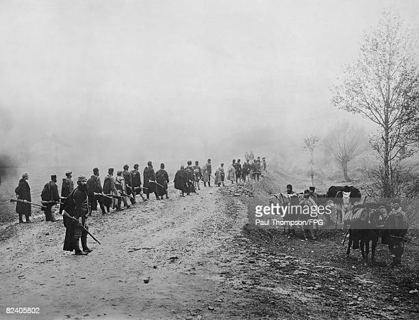 Macedonian rebels on the Salonica Road during the Balkan War with the Ottoman Empire circa 1912