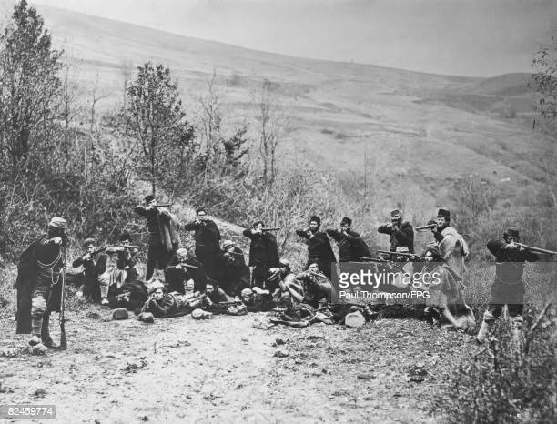 Macedonian rebels on the Salonica Road during the First Balkan War with the Ottoman Empire 21st October 1912