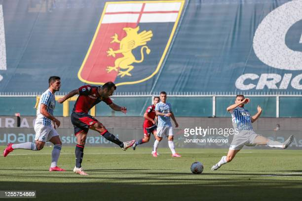 Macedonian striker Goran Pandev of Genoa CFC scores to give the side a 1-0 lead during the Serie A match between Genoa CFC and SPAL at Stadio Luigi...