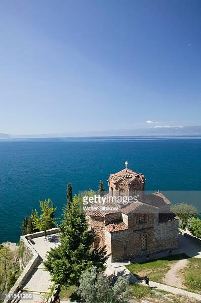 MACEDONIA-Ohrid: Sveti Jovan at Kaneo Church (13th century) and Lake Ohrid / Morning