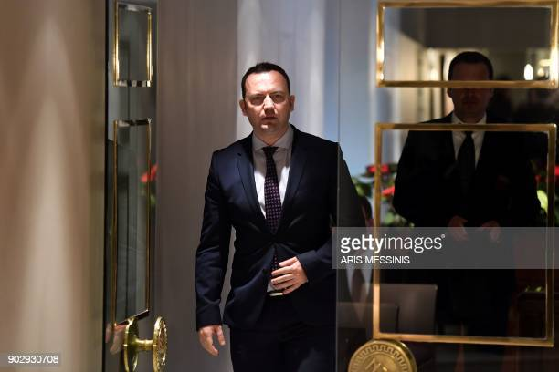 Macedonia's deputy Prime Minister for European Affairs Bujar Osmani arrives for a briefing to media after a series of meetings with Greek Alternate...