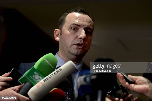 Macedonia's deputy Prime Minister for European Affairs Bujar Osmani talks to the press after a series of meetings with Greek Alternate Minister of...