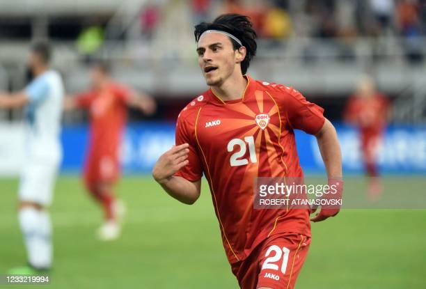 Macedonia's Eljif Elmas celebrates after scoring during the friendly football match between North Macedonia and Slovenia at Tose Proeski Arena in...