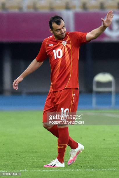 Macedonia's forward Goran Pandev celebrates after scoring during the friendly football match between North Macedonia and Slovenia at Tose Proeski...