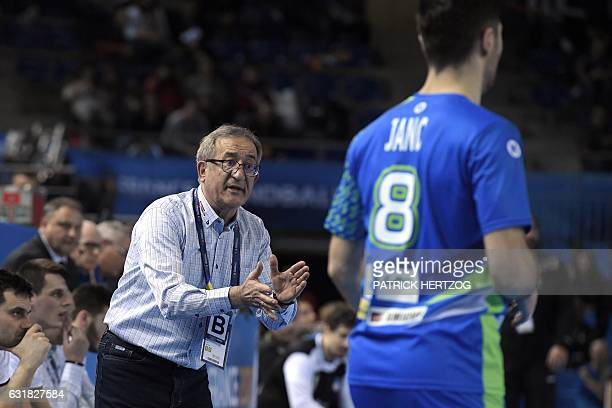 Macedonia's head coach Lino Cervar cheers on during the 25th IHF Men's World Championship 2017 Group B handball match Slovenia vs Macedonia on...