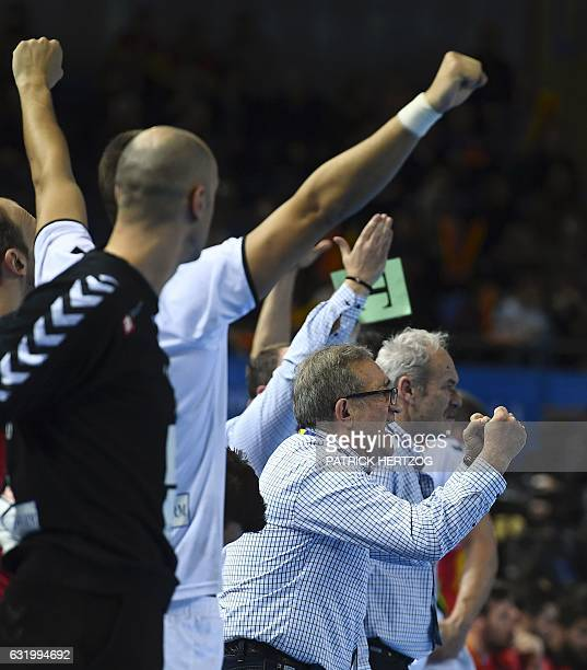Macedonia's head coach Lino Cervar cheers on during the 25th IHF Men's World Championship 2017 Group B handball match Macedonia vs Spain on January...